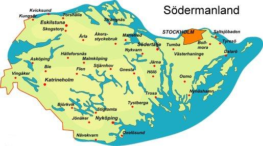 Karta lånad från http://www.sverigeguiden.com/landskap/sodekart.htm